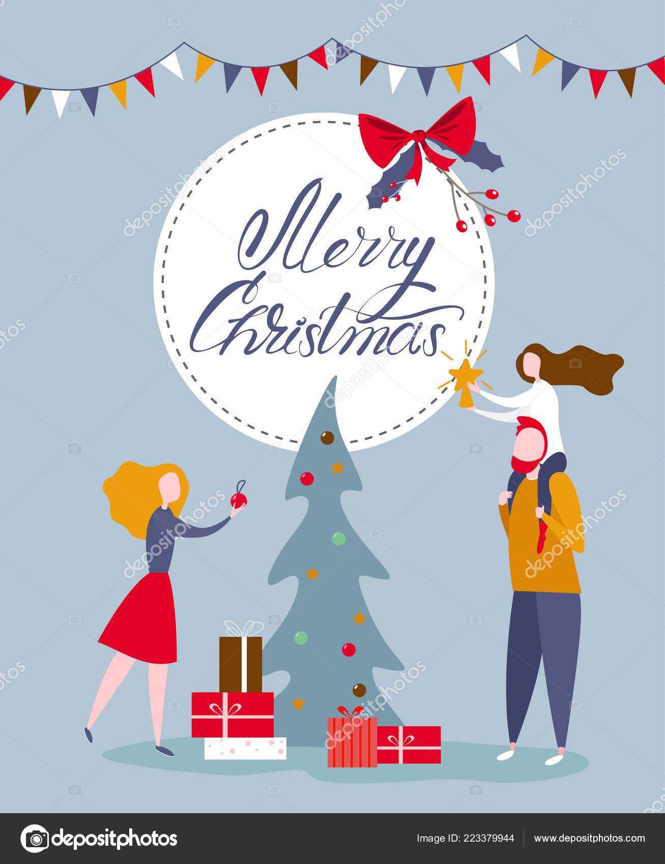 Auguri Di Natale Per La Famiglia.Cartolina D Auguri Di Natale Con La Famiglia Felice Decorare Christm