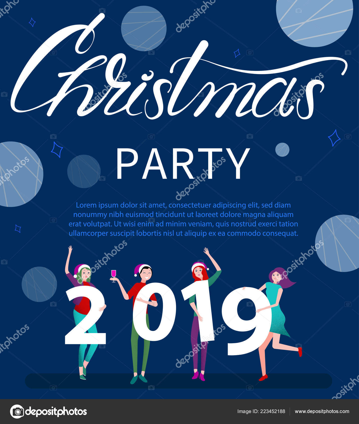 Christmas Party 2019 Logo.Christmas Party 2019 Poster Or Invitation With Happy People