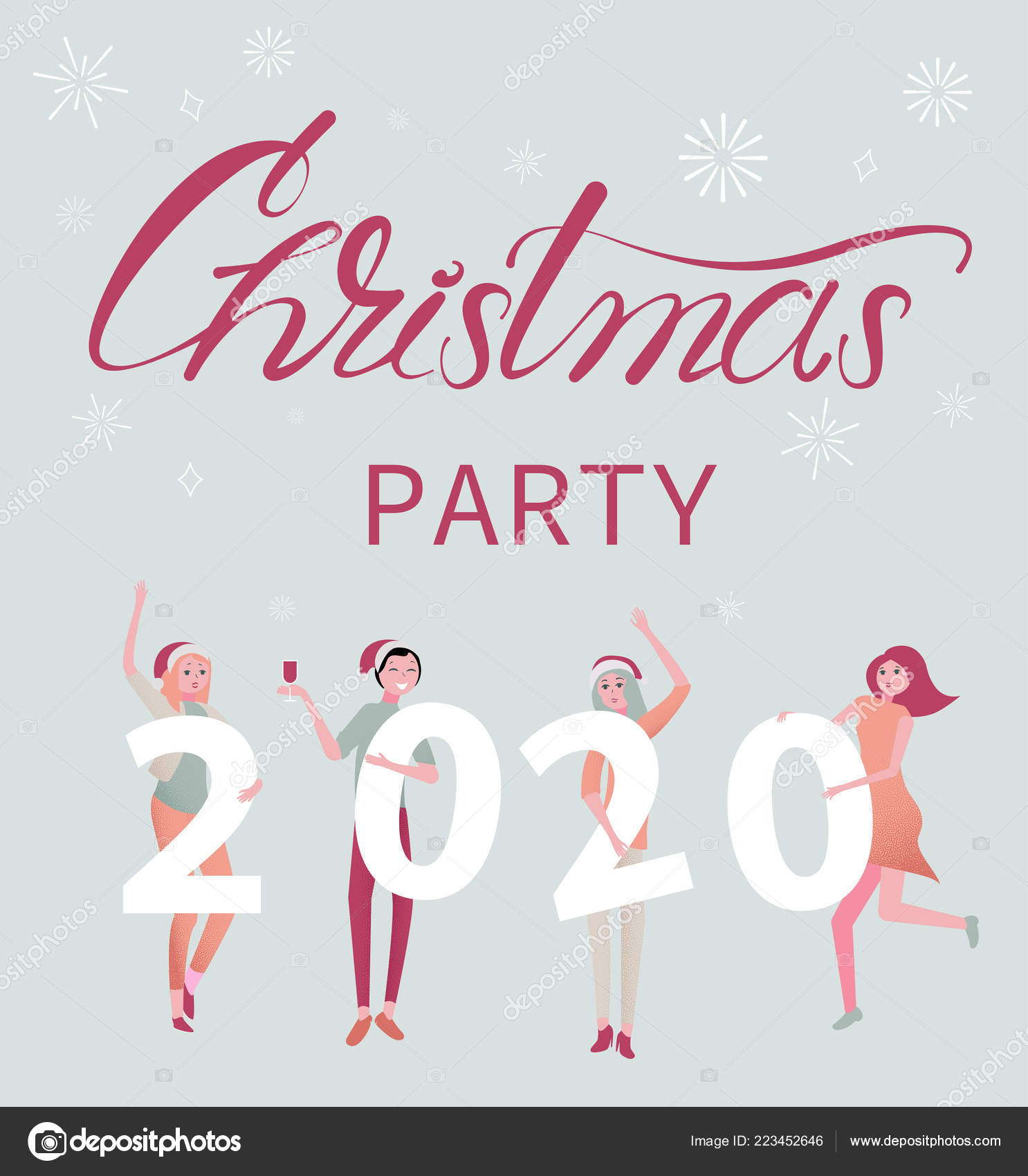 Christmas Parties 2020 Christmas party 2020 poster with people and figures. — Stock