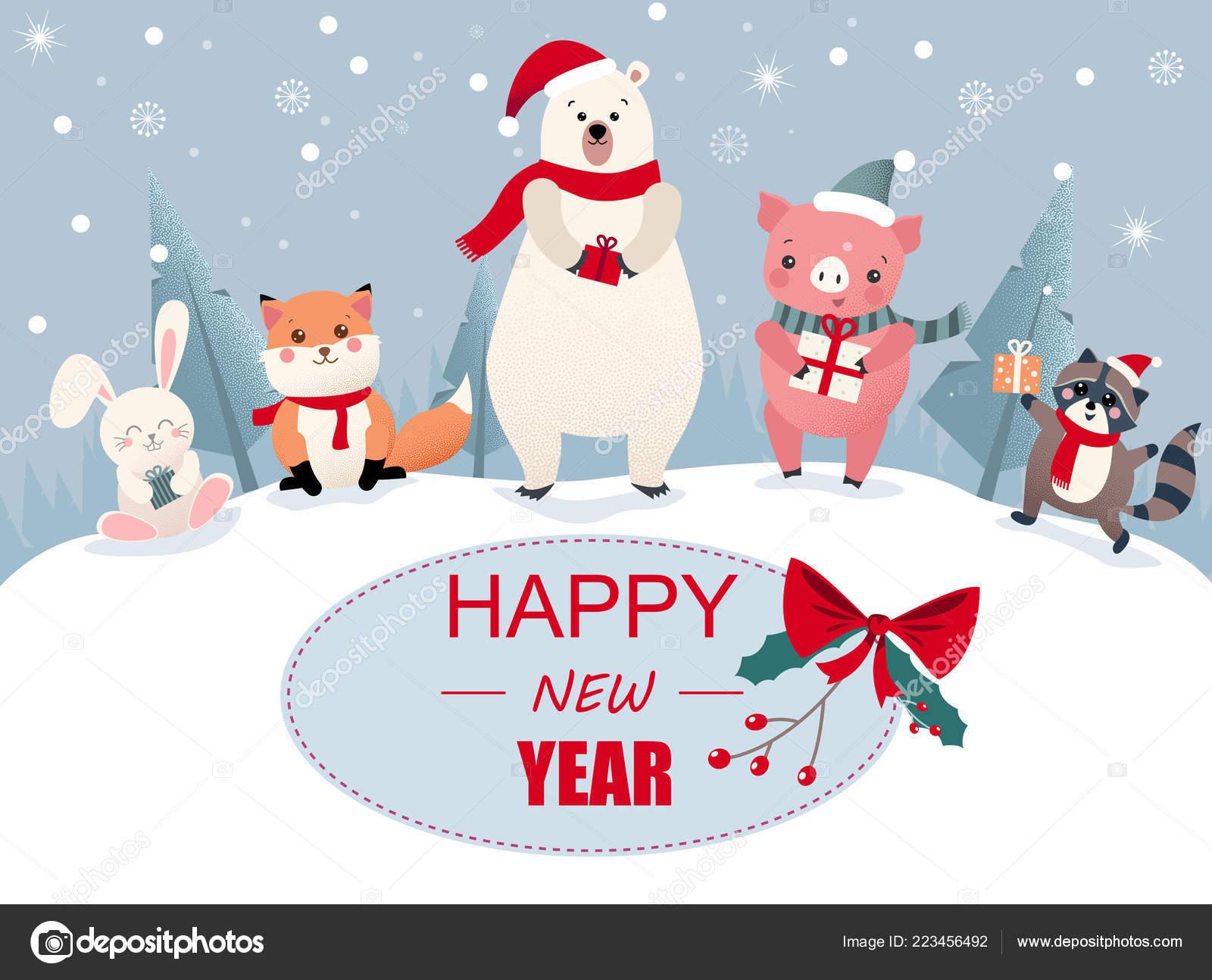 Stastny Novy Rok Blahoprani S Roztomile Kreslene Zvirata A Prase