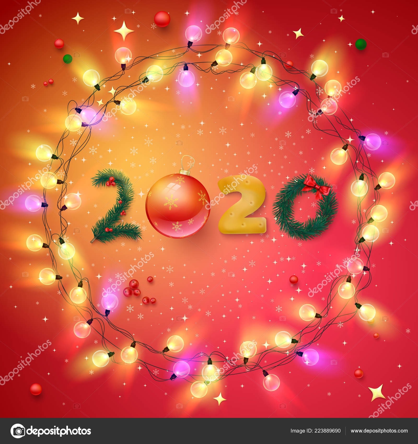 Happy New Year 2020 shiny card with festive decoration ...