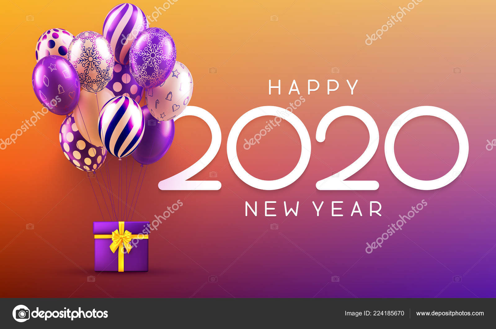 happy new year 2020 greeting card with gift and colorful balloon stock vector