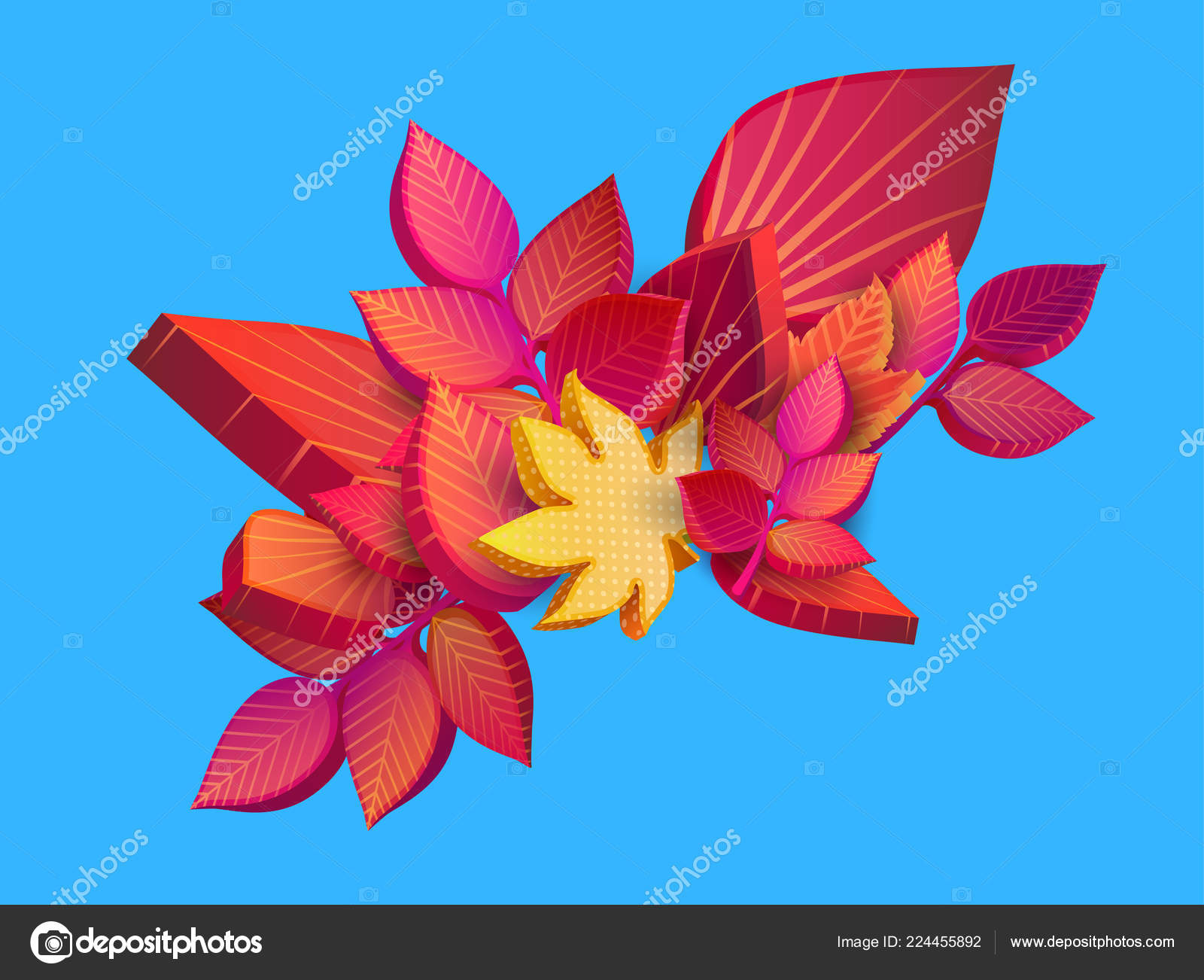 Autumn blue background with beautiful 3d leaves  — Stock Vector