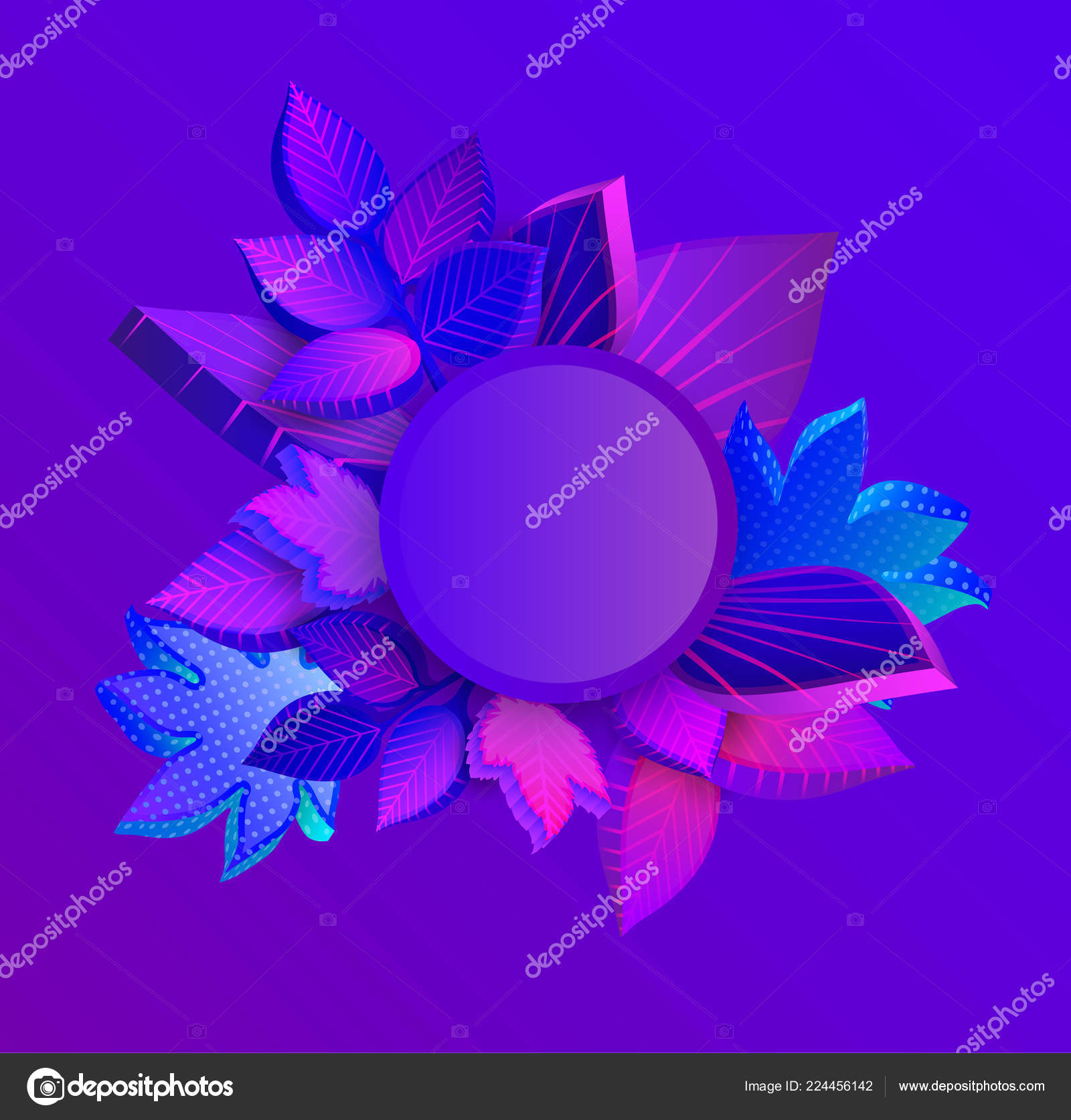 Purple spectrum round autumn background with 3d leaves  — Stock
