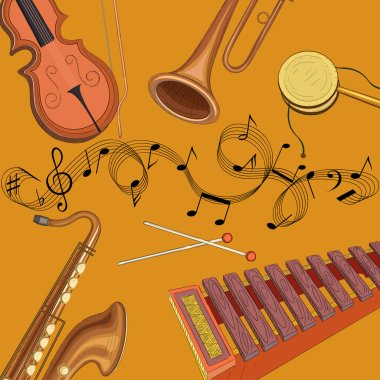 Orange background with notes and musical instruments.