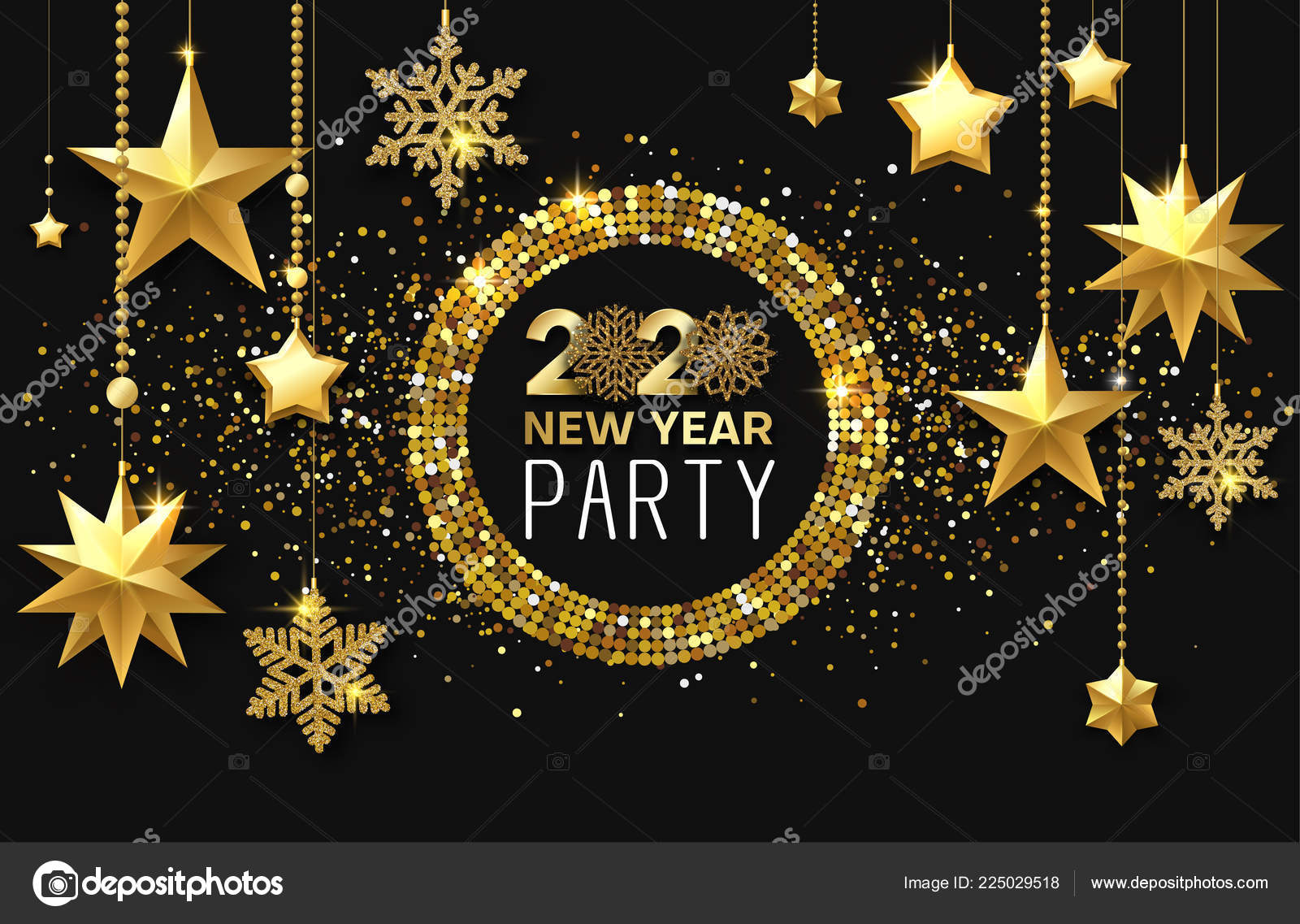 New Year 2020 party. Shiny poster or invitation card with ...