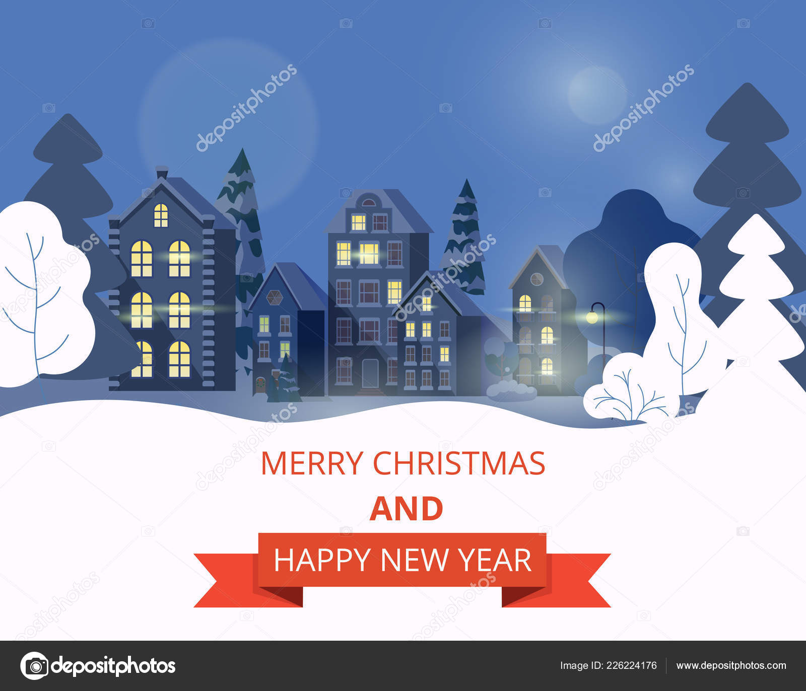merry christmas and happy new year card with winter cityscape stock vector