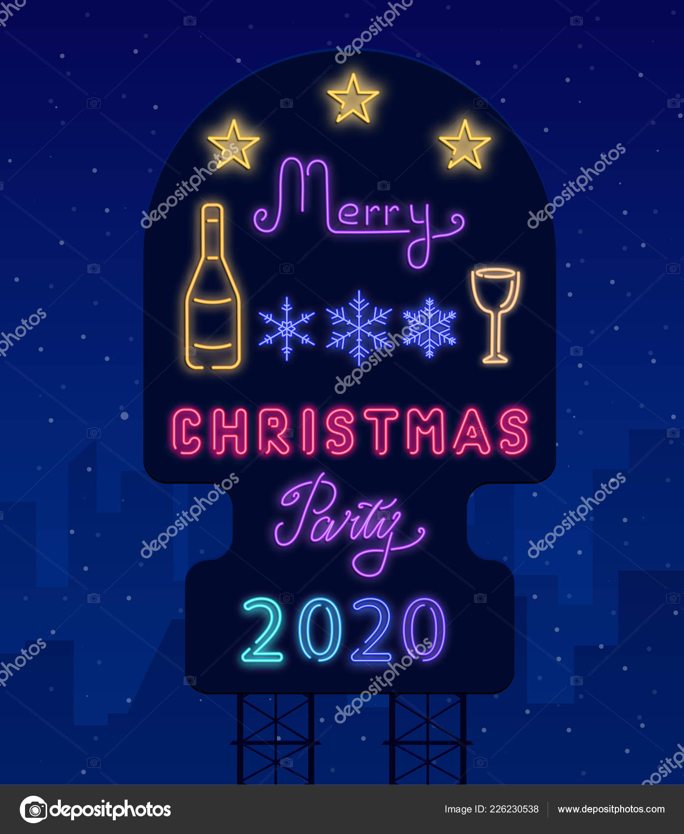 Christmas 2020.Merry Christmas 2020 Party Neon Luminous Urban Poster With