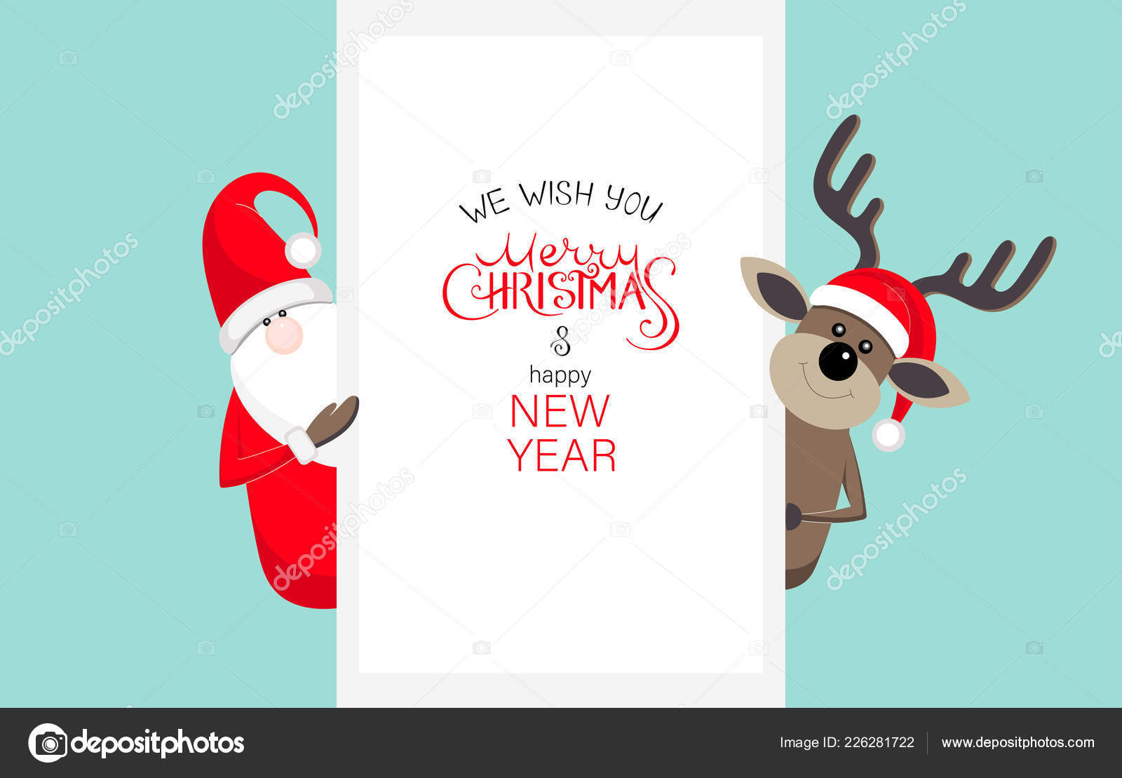 merry christmas and happy new year card with santa claus and dee stock vector