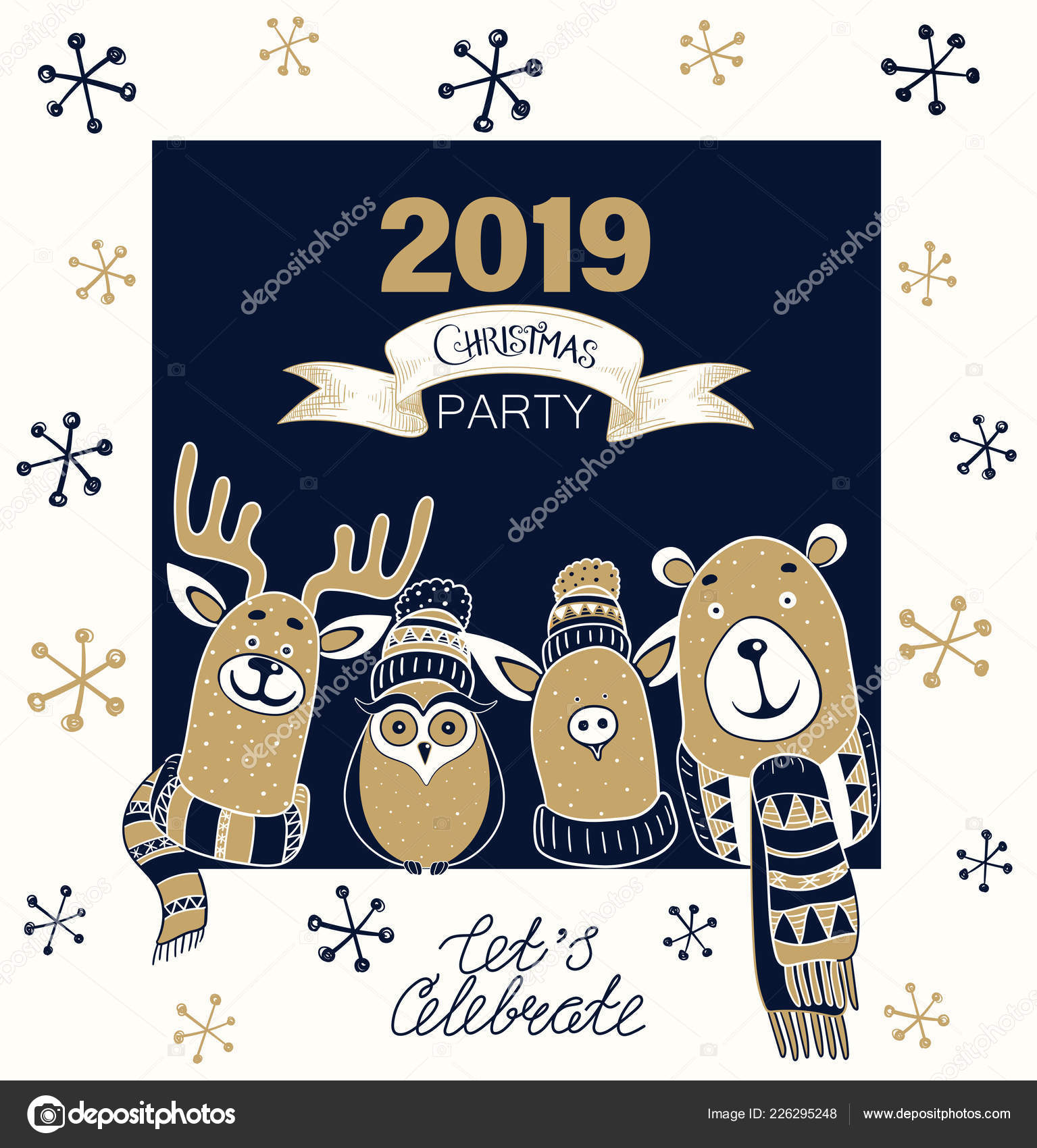 Christmas Party 2019 Clipart.Christmas Party 2019 Poster Or Invitation With Cute Cartoon