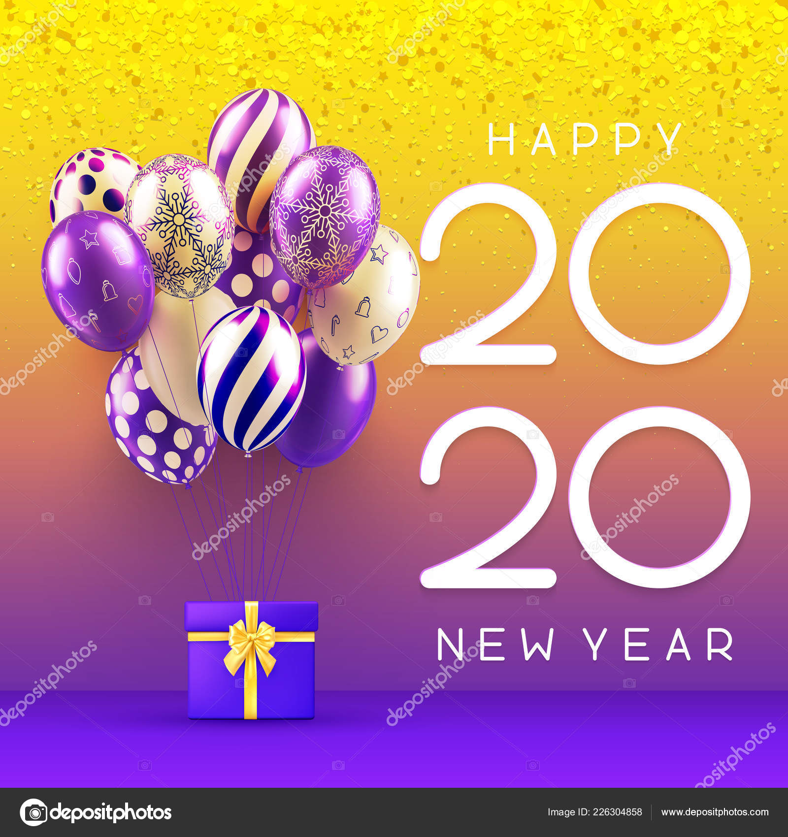 New Years Cards 2020 Happy New Year 2020 greeting card with gift and colorful balloon