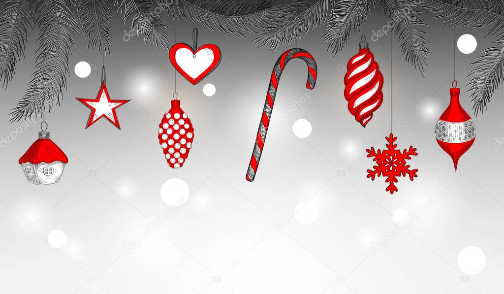new year background with red christmas decoration