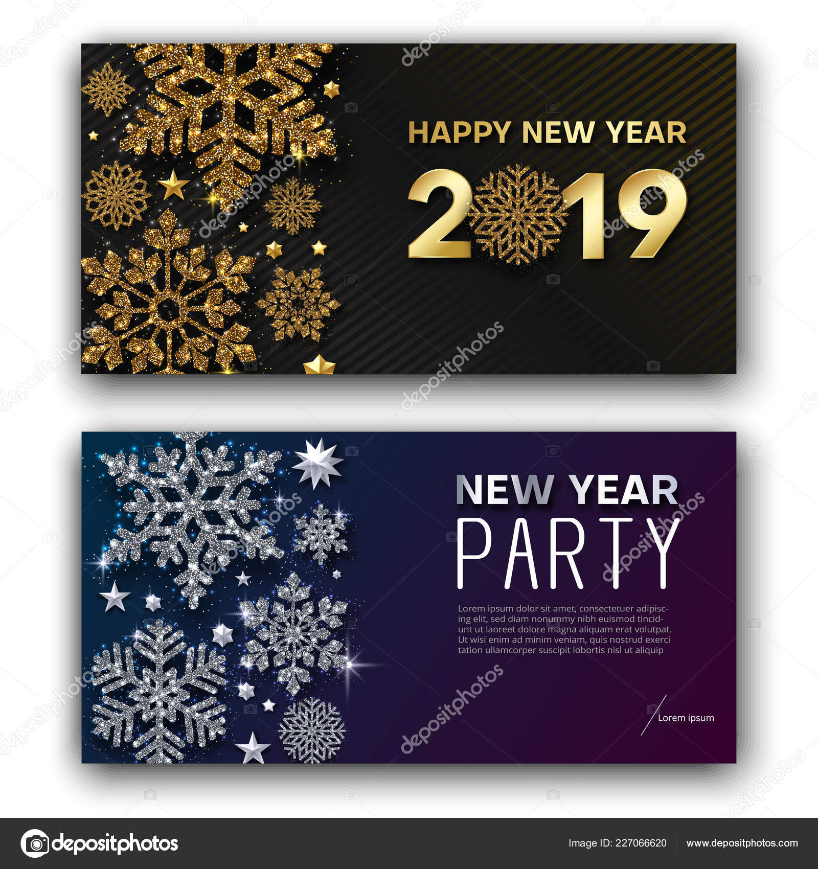 Happy New Year 2019 Greeting Card New Year Party Invitation