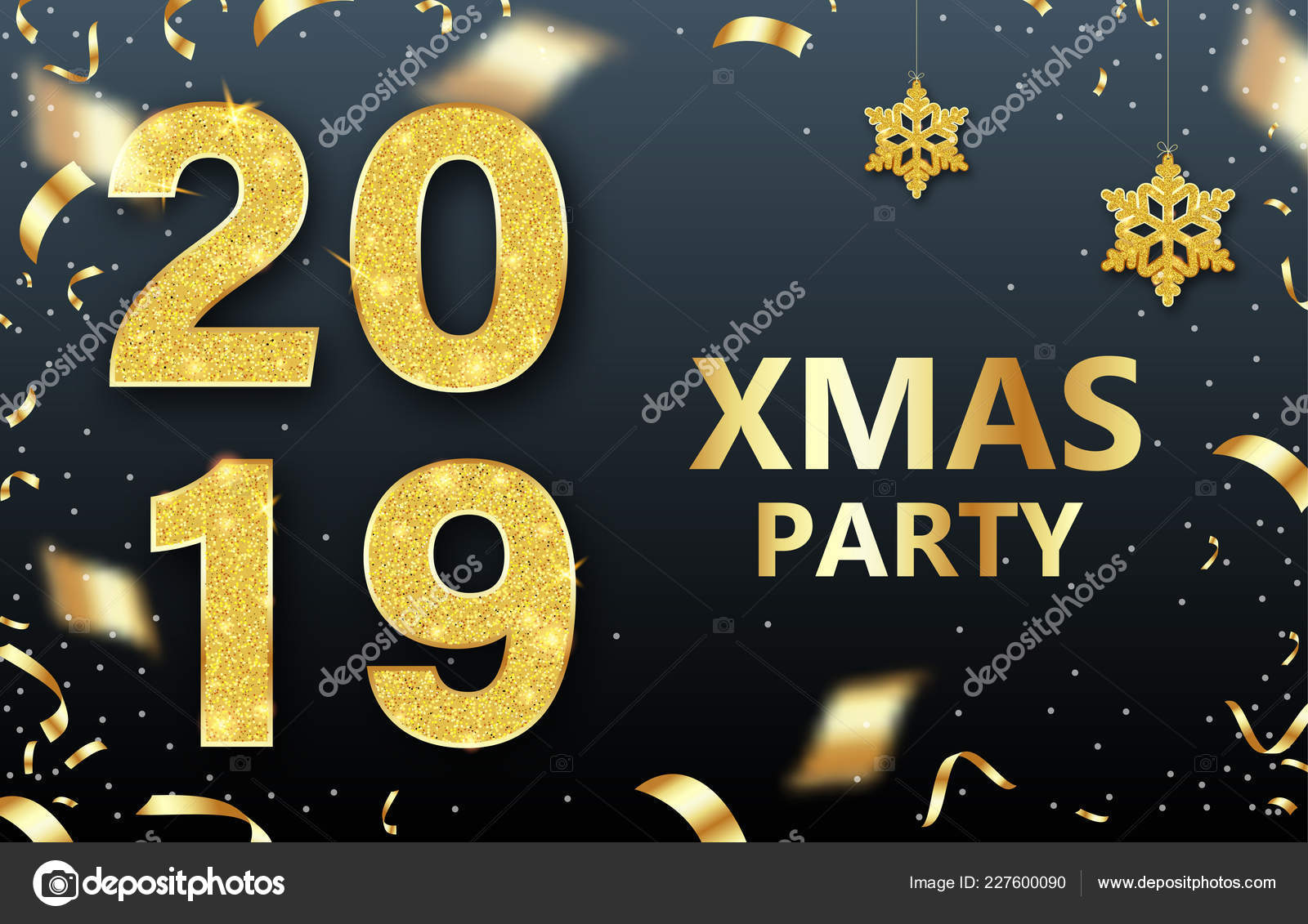 Christmas Party 2019 Logo.Christmas Xmas Party 2019 Shiny Poster With Golden