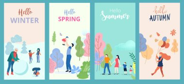 Hello summer, spring, autumn, winter. Set of posters or cards wi