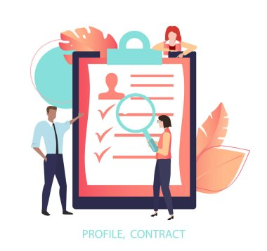 Profile, contract. People look resume, check document.