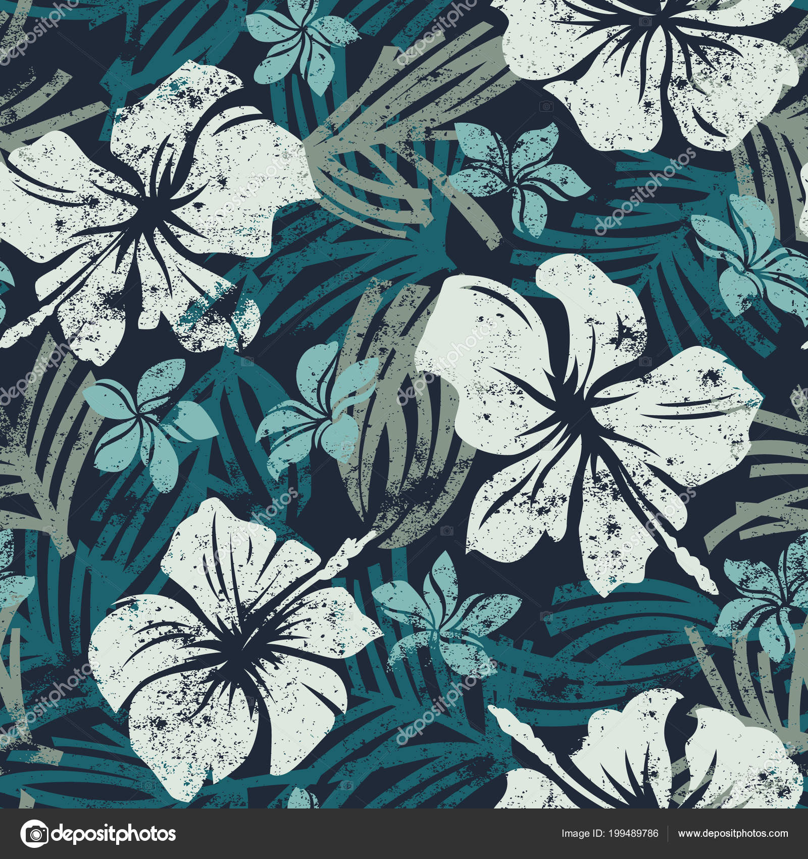 Grunge Hibiscus Flowers Seamless Pattern Vintage Tropical Abstract