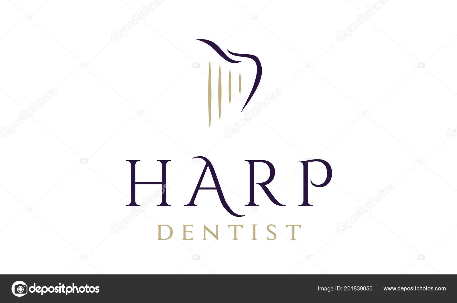 Dentist Dental Logo Design Inspiration With Harp And Tooth Vector By Enola99d