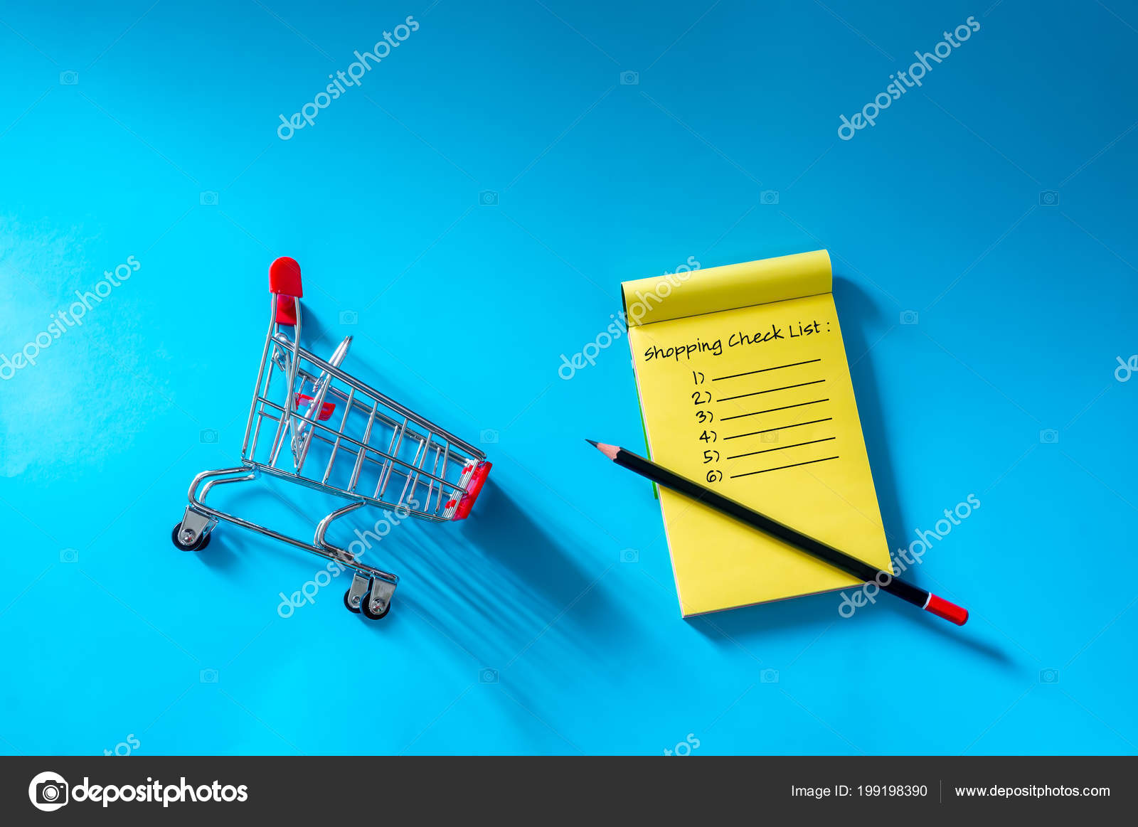 shopping list going buy groceries top view trolley notes isolated