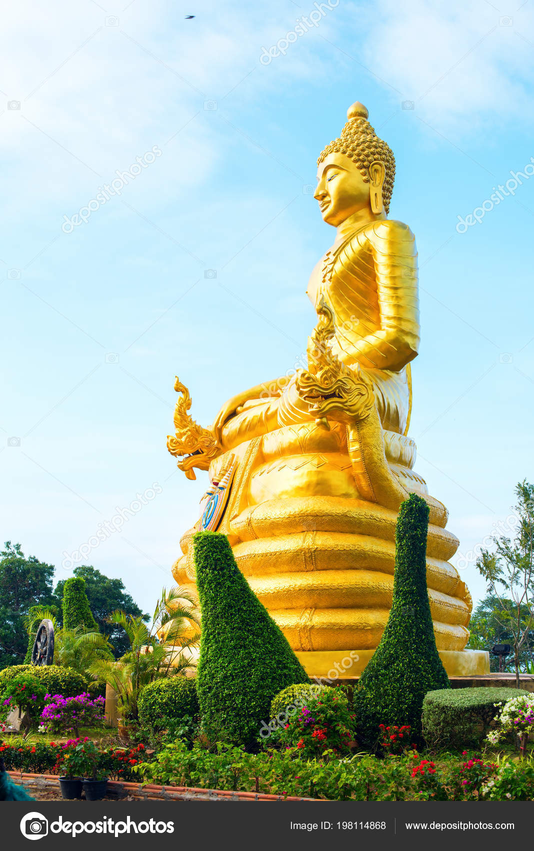 Statue Gold Buddha Big Buddha High Hilltop Phuket Thailand Sky Stock Photo Image By C Olgapink 198114868