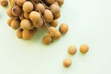 Longan fruit referred to as dragon eye fruit in branch
