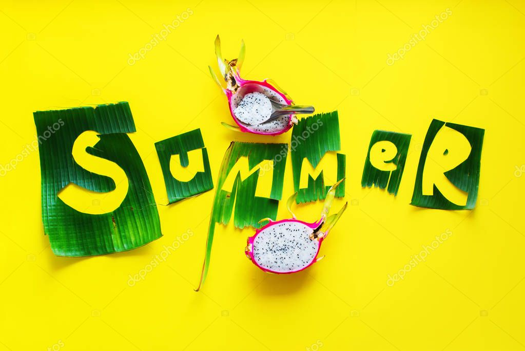 Pitahaya fruit and word SUMMER letters from green