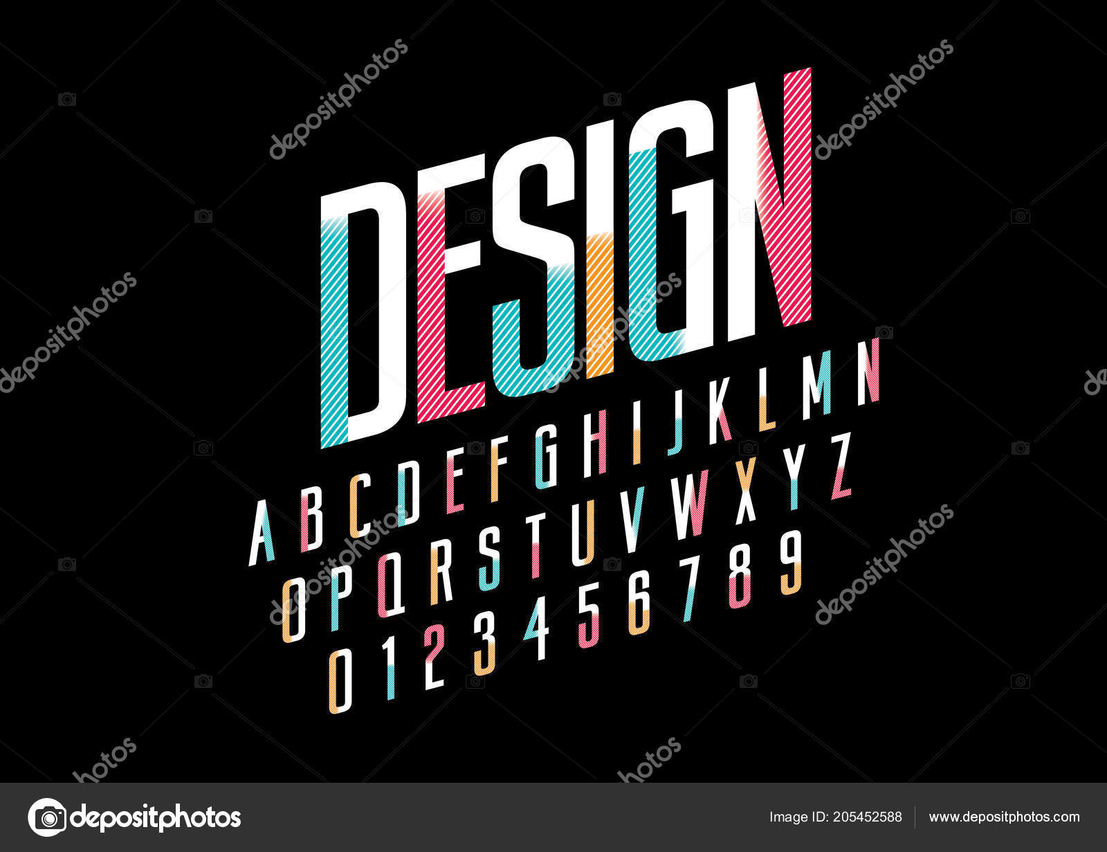 stylized font alphabet word design vector illustration stock