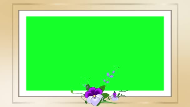 Animated photo frame with a bouquet of purple flowers, violets