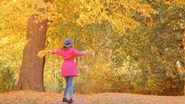 Happy woman with autumn leaves walking in park