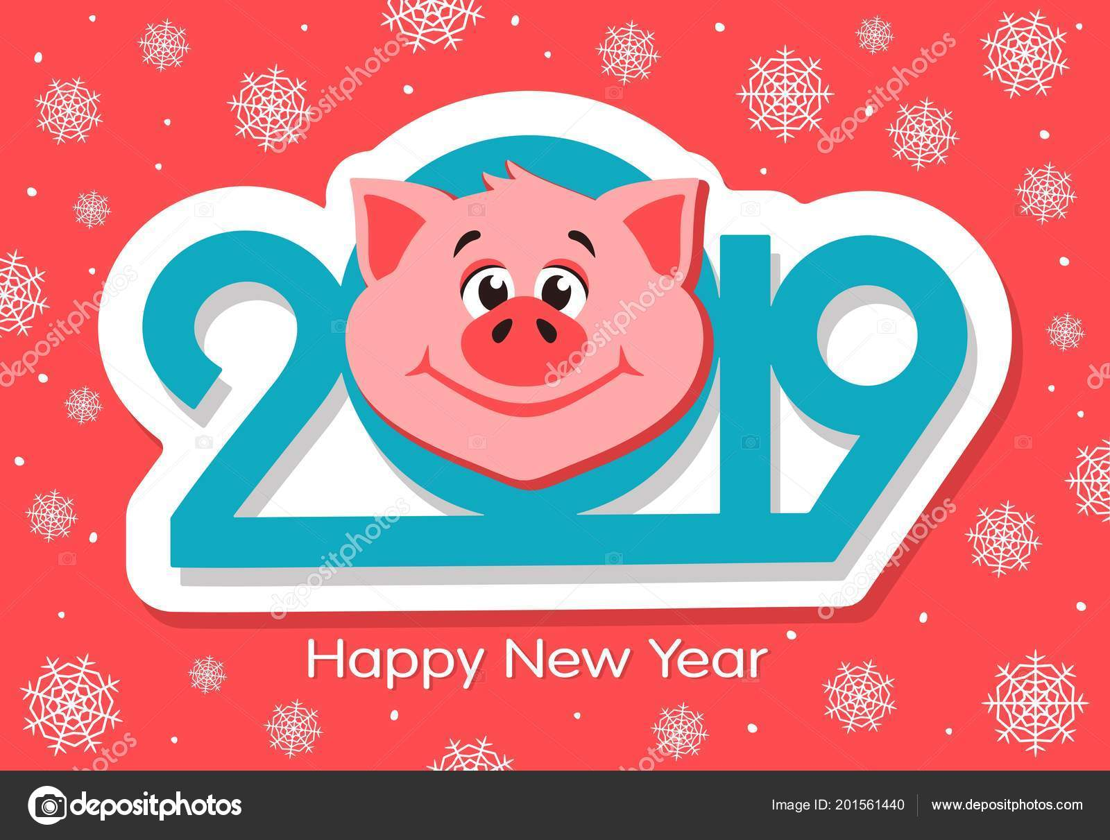 Happy New Year Greeting Card Design Cartoon Pigs Face Pink Stock