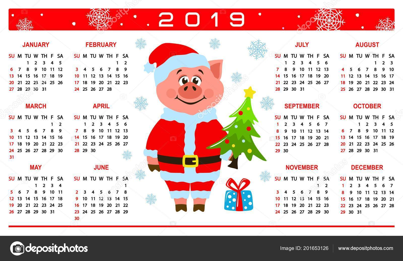 Calendar Christmas 2019 Colorful Calendar 2019 Pig Santa Claus Costume Cartoon Character
