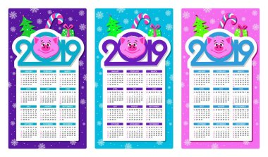 Set of three colorful calendars 2019 with cartoon pigs face. Text 2019, christmas tree, gift box, lollipop and snowflakes around. Week starts on Sunday. Basic grid. Flat style. Vector illustration.
