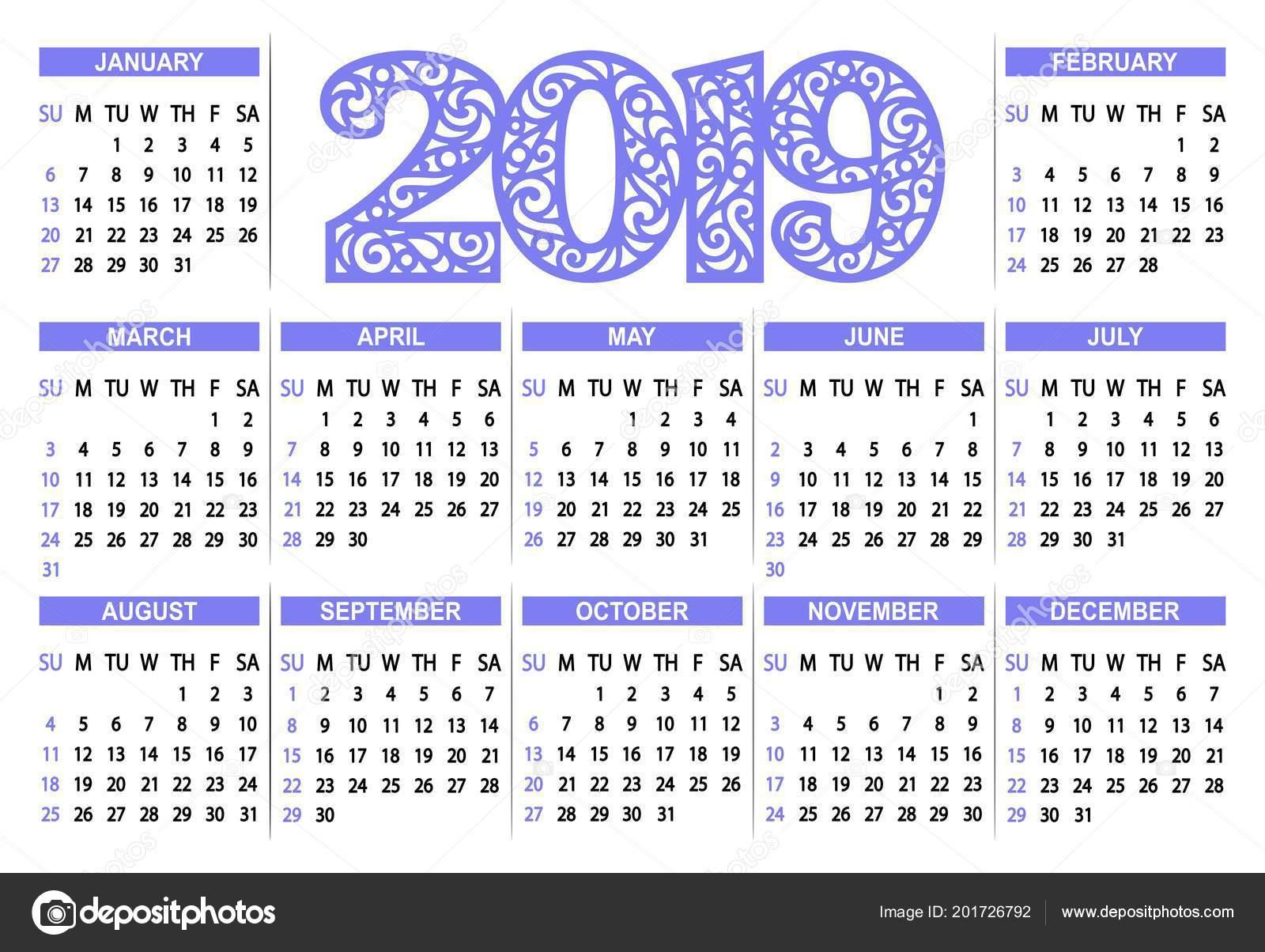 Calendario 2019 Con Numero Di Settimana.Calendario 2019 Sfondo Bianco Settimana Inizia Domenica
