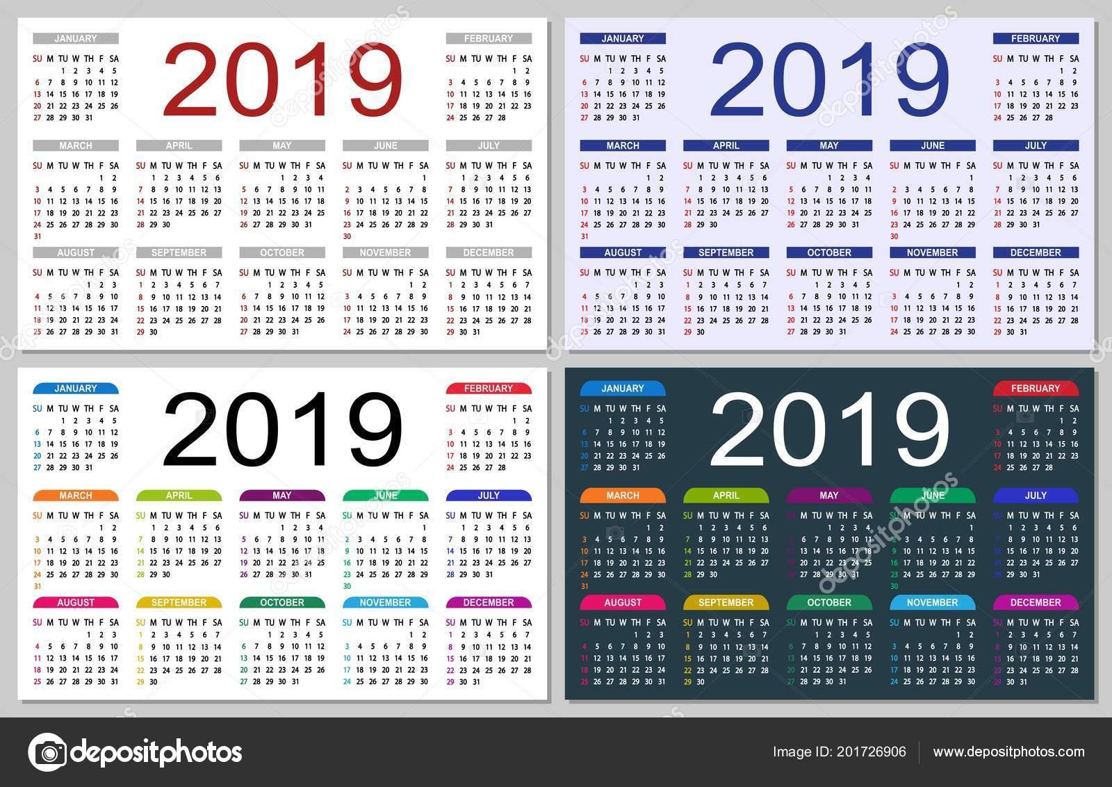 set colorful calendars 2019 week starts sunday basic grid simple