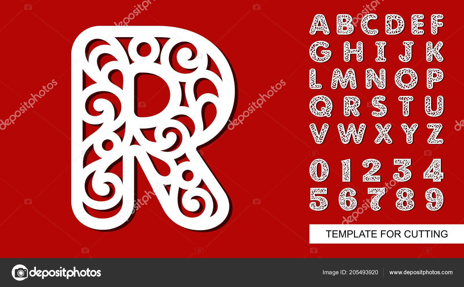 letter full english alphabet digits lace letters numbers template