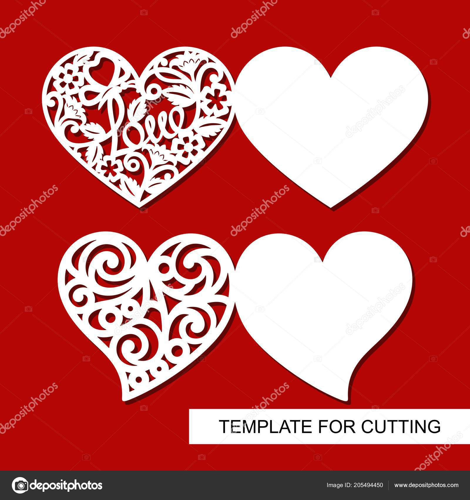 Set Greeting Cards Hearts Decoration Valentine Day Template Laser