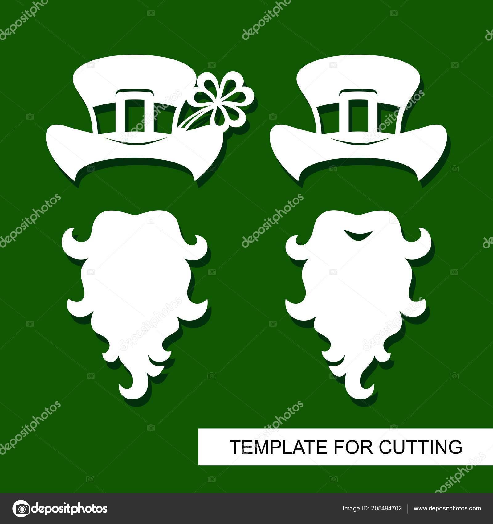 Set Decoración Para Día San Patricio Barba Sombrero Con