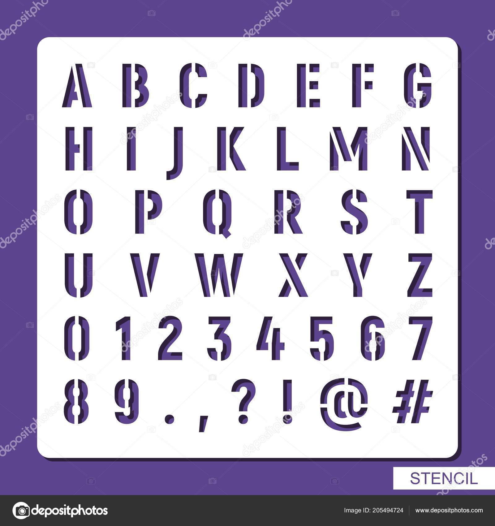 Stencil Alphabet Numbers Symbols Punctuation Marks Template