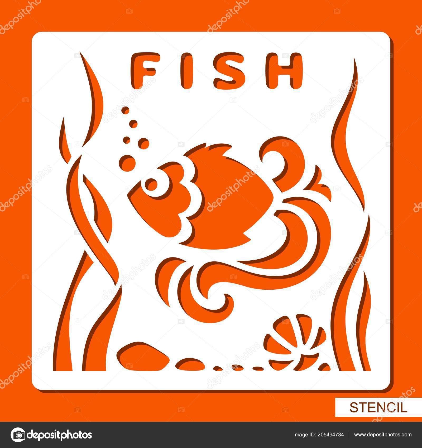 Stencil Children Fish Seaweed Stones Shell Template Laser