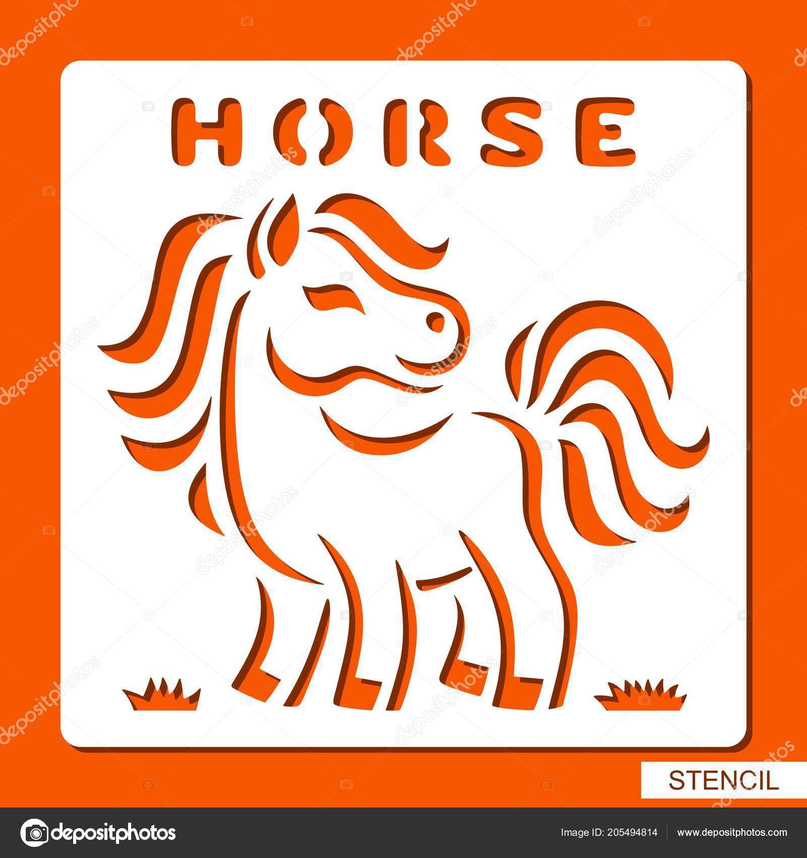 Stencil Children Horse Grass Template Laser Cutting Wood