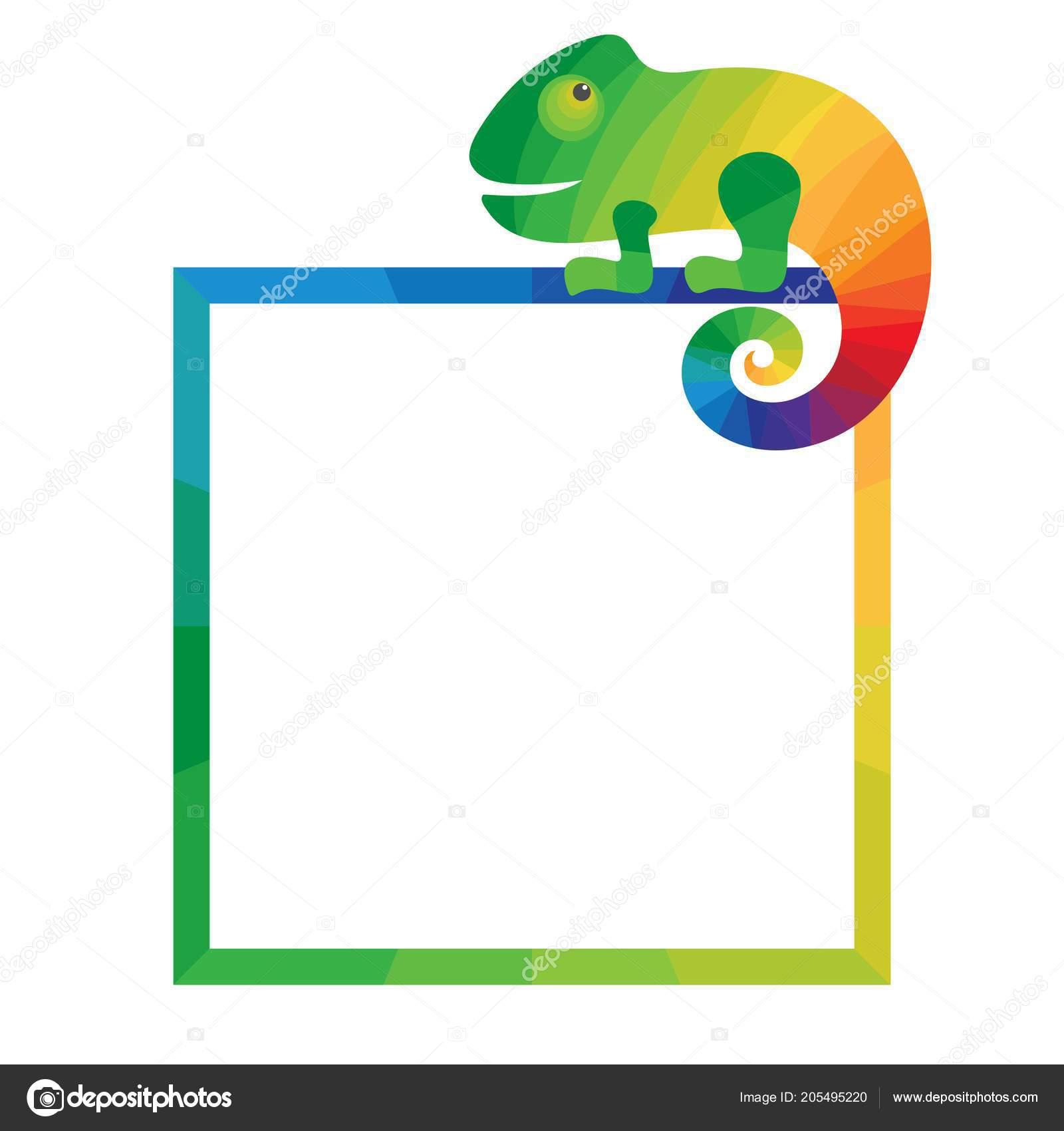 Multicolored Square Frame Chameleon Template Photo Frame Flyer White