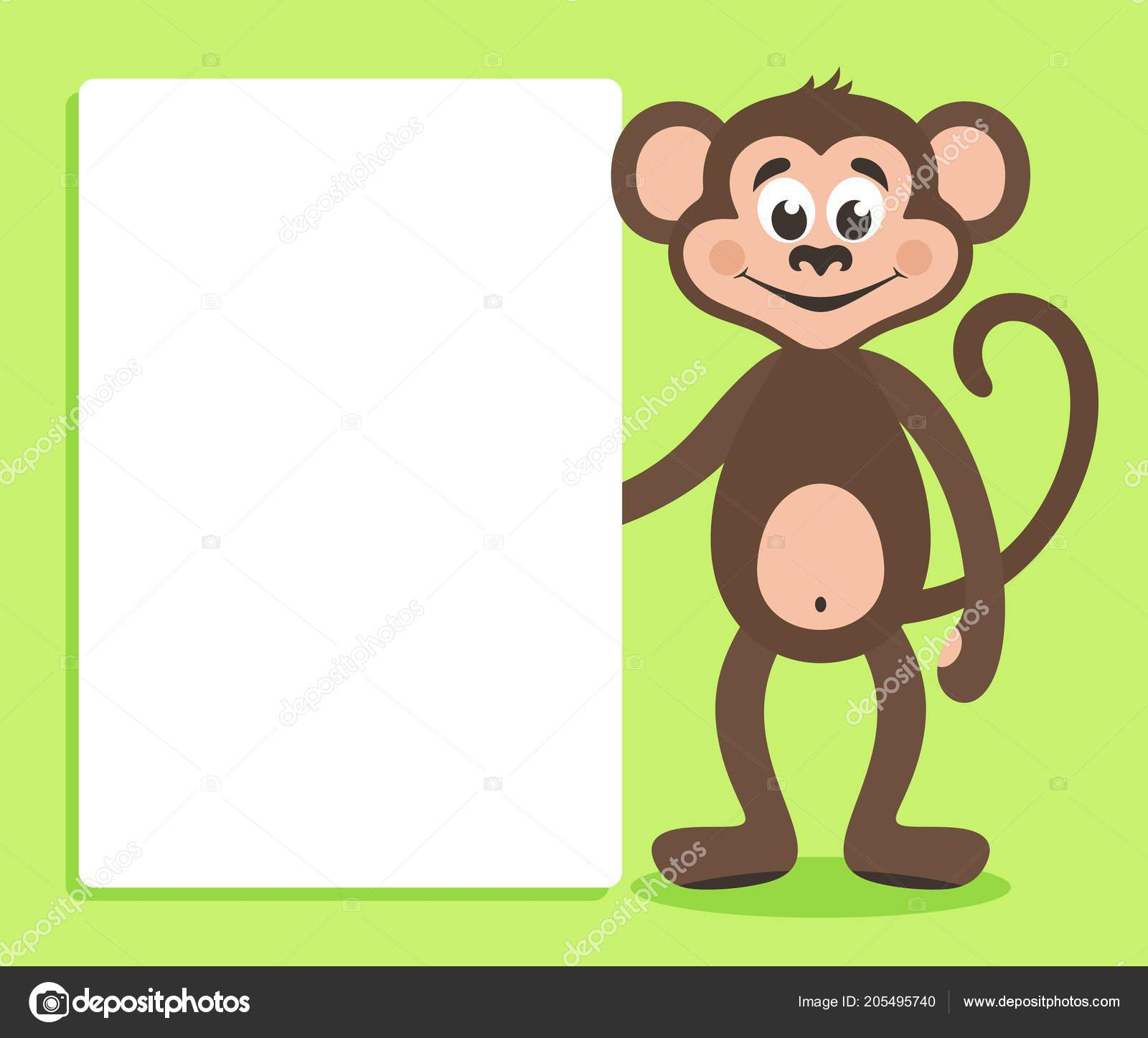brown monkey white board green background template your text cartoon