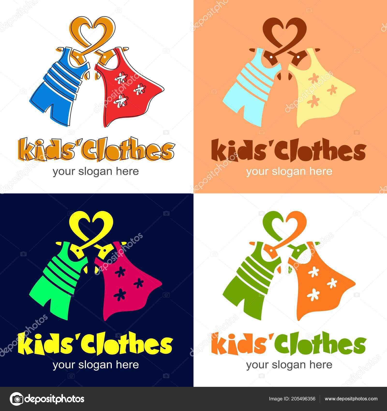e1fc90de9d059 Vêtements d'enfants. Logo avec le cœur, cintre, robe pour fille, t-shirt et  Short pour garçon. Logo ou l'icône pour boutique, magasin, marché avec  enfants ...
