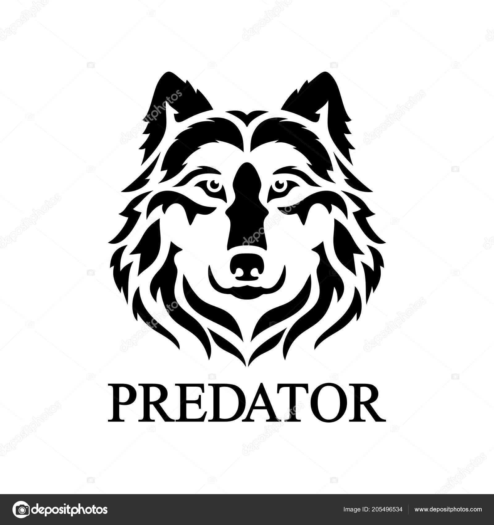 Logo cara del lobo silueta vector una cabeza depredador vector de stock