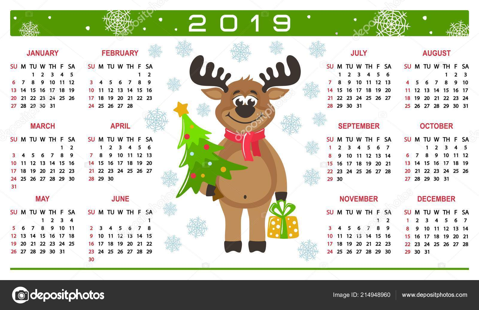 Christmas 2019 Calendar.Colorful Horizontal Calendar 2019 Happy Reindeer Cartoon