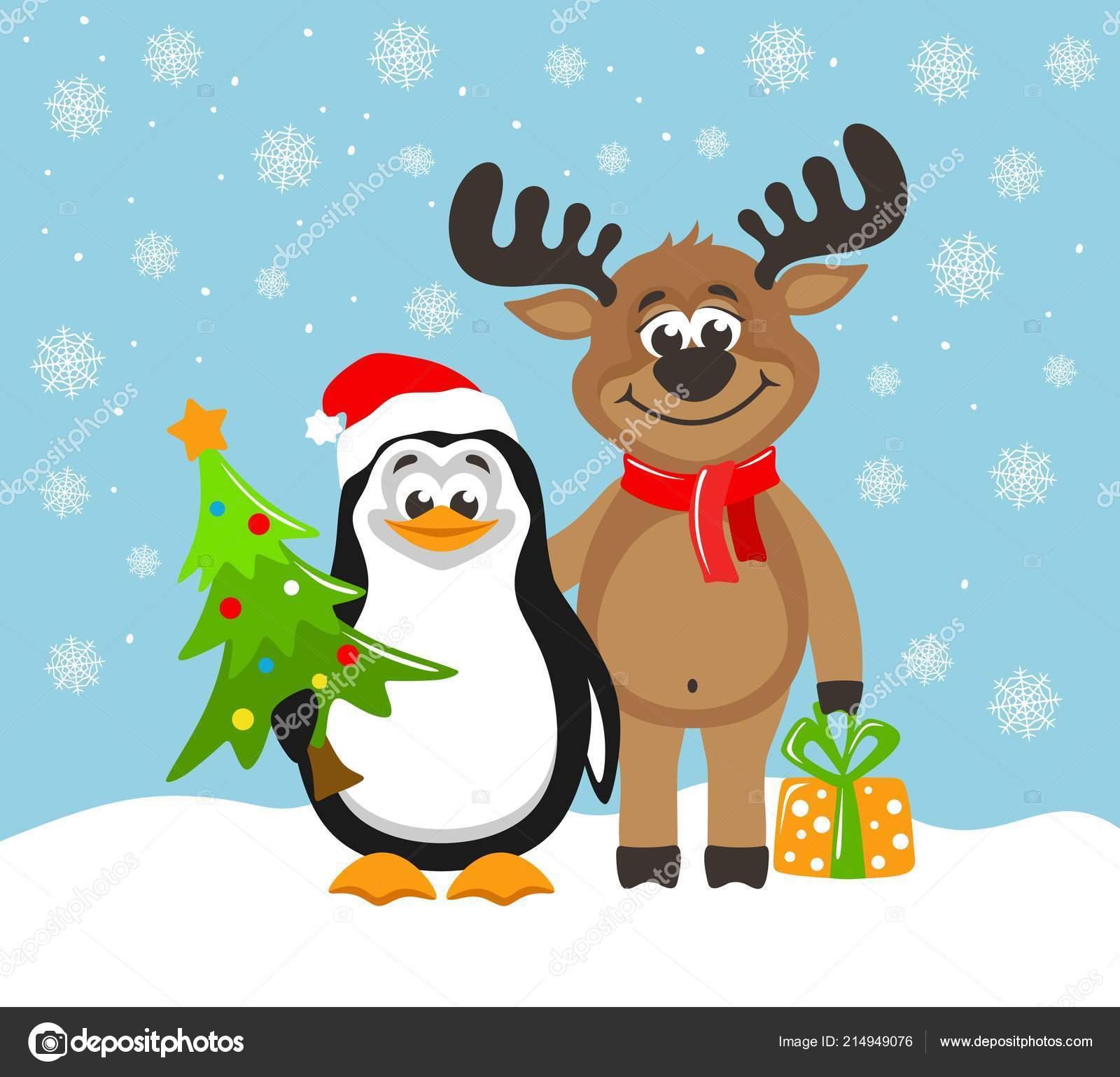 Pinguino sveglio cappello babbo natale renna divertente cartolina