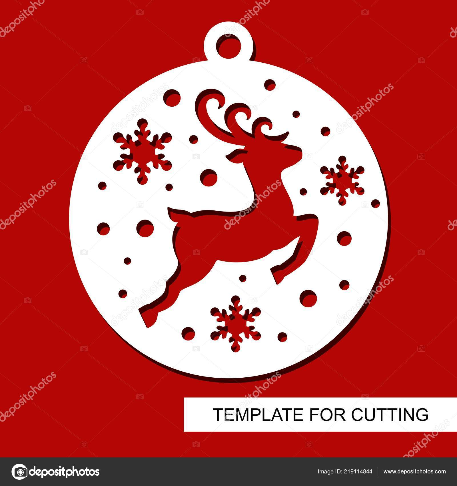 Christmas Decoration Deer Silhouette Ball Snowflakes Template Laser