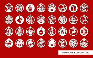 Big set of Christmas decorations - balls with a Santa Claus, deer, snowflake, candle, angel, snowman, gift, sock, Christmas tree, house. Template for laser cut. New Year theme. Vector illustration.