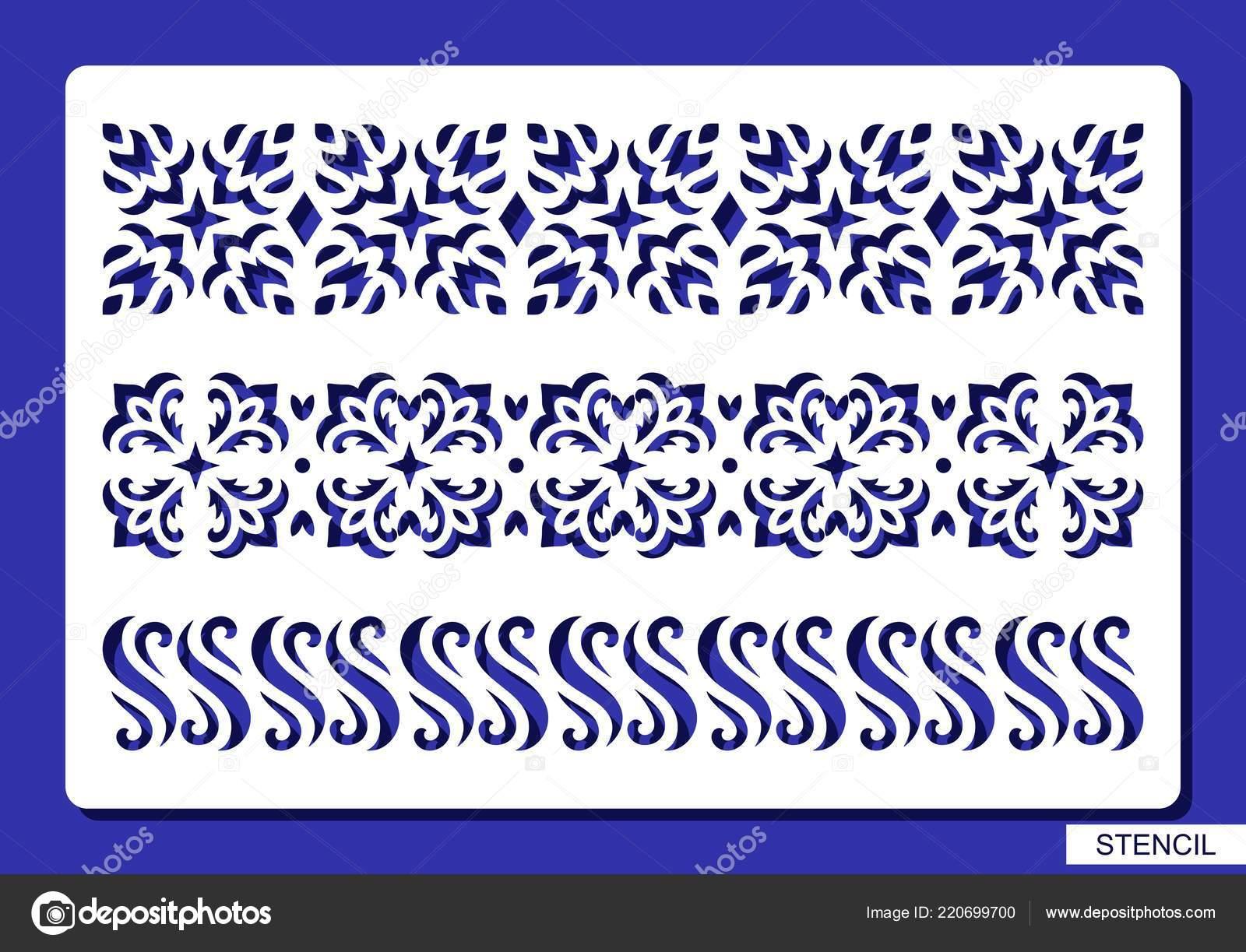 Set Decorative Borders Stencil Lace Floral Patterns Template