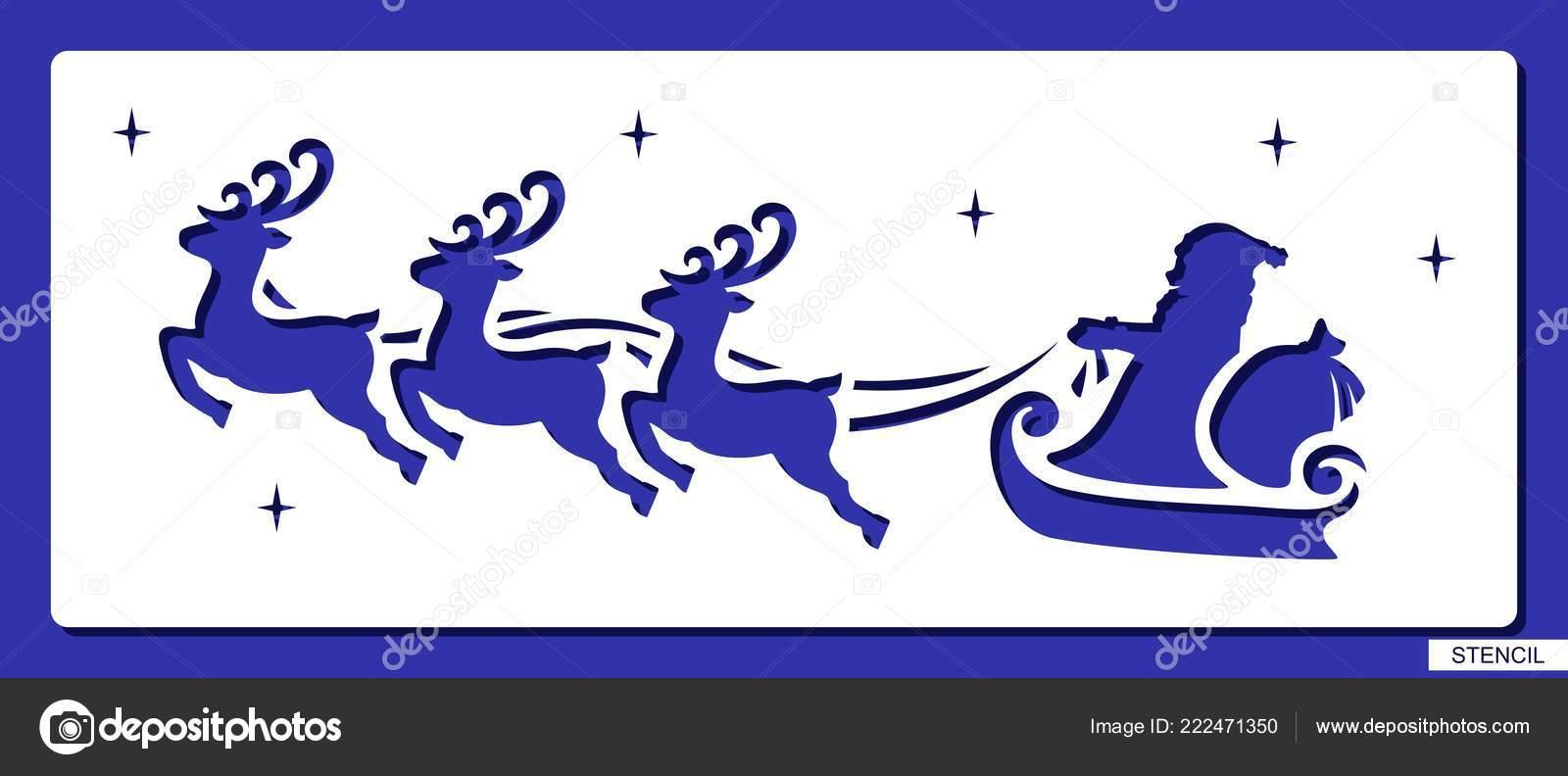 Pochoir Pere Noel.Pochoir Avec Des Volants Père Noël Renne Sac Avec Les